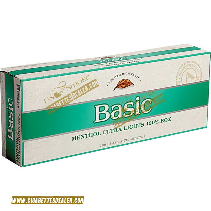Basic Menthol Ultra Lights 100's Silver Pack Box